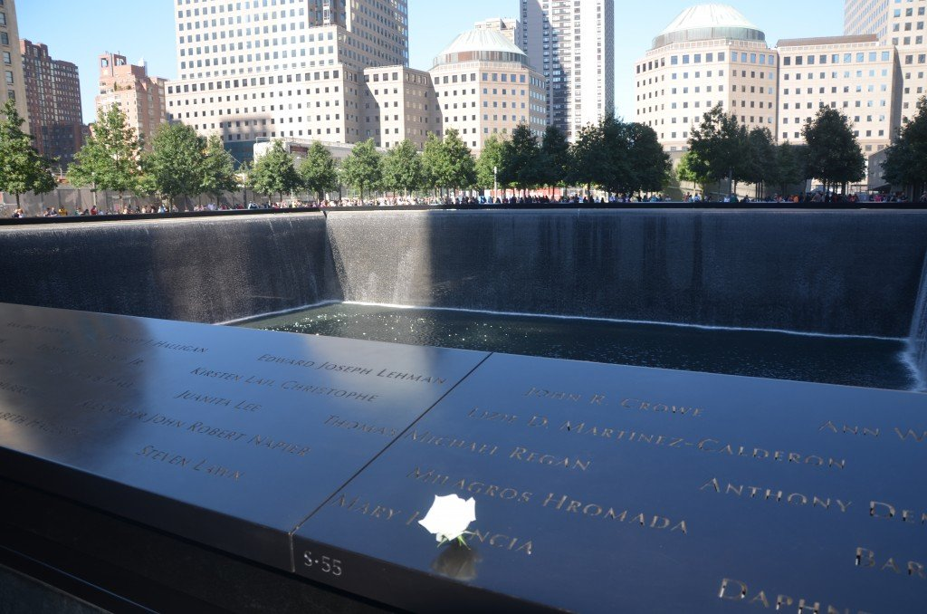 A white rose at the 911 Memorial in New York