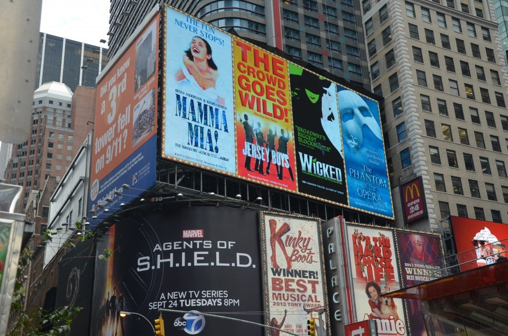 Broadway musical billboards at Times Square, New York