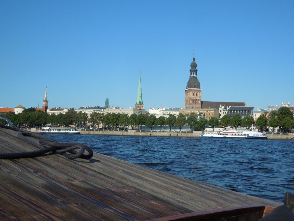 The view from a sightseeing boat across the Daugava River to the Old Town in Riga, Latvia