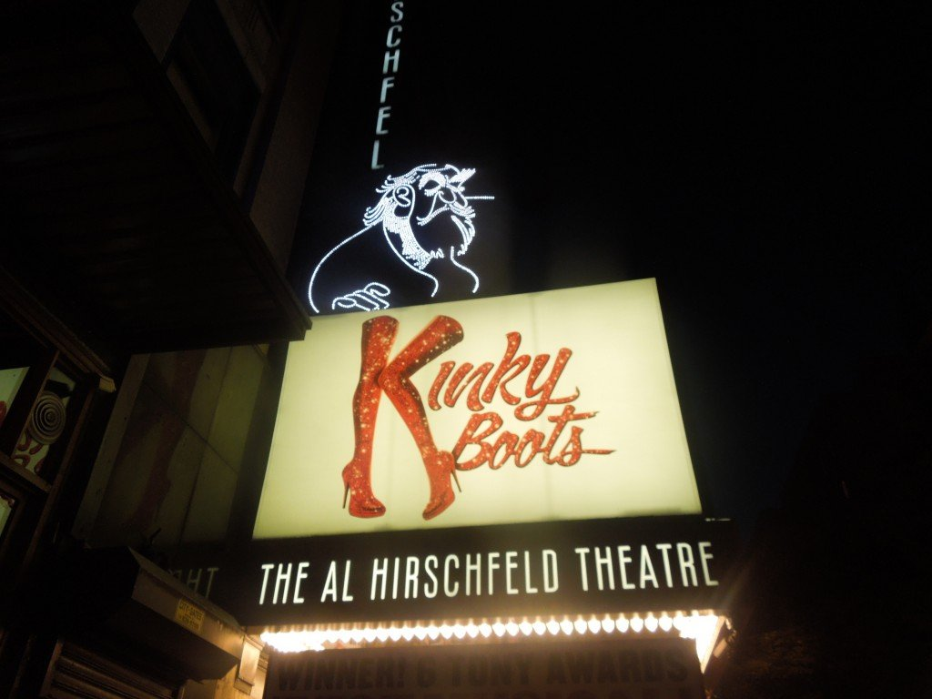 The Kinky Boots sign at the Al Hirschfield Theater in New York