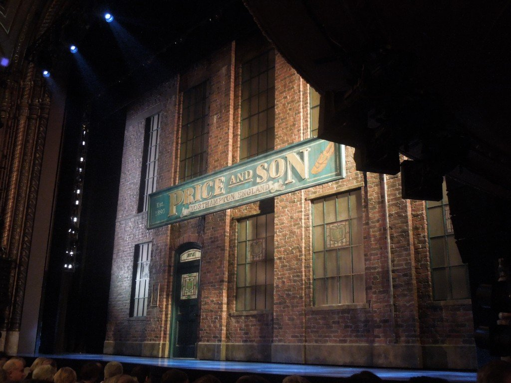 The Price and Son set of Kinky Boots on stage at the Al Hirschfeld Theatre in New York