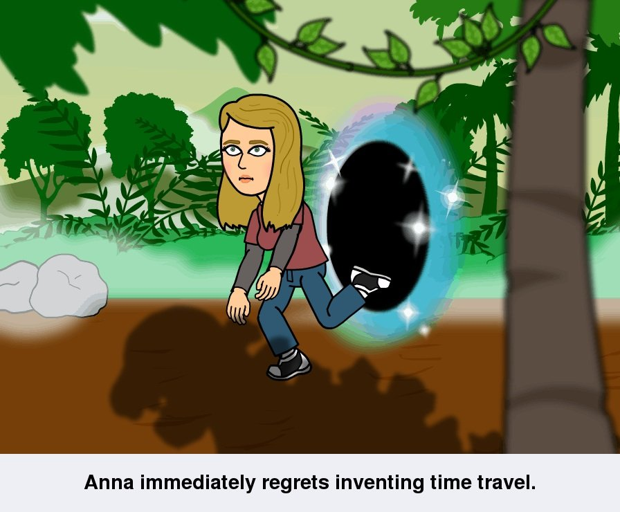 Bitstrips comic: Anna immediately regrets inventing time travel
