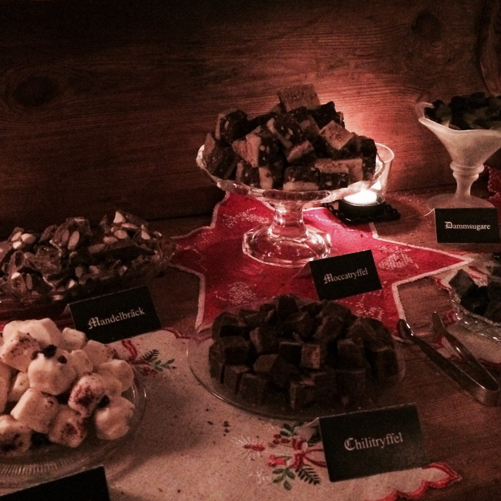 A selection of chocolate truffles on the Swedish julbord/Christmas dinner