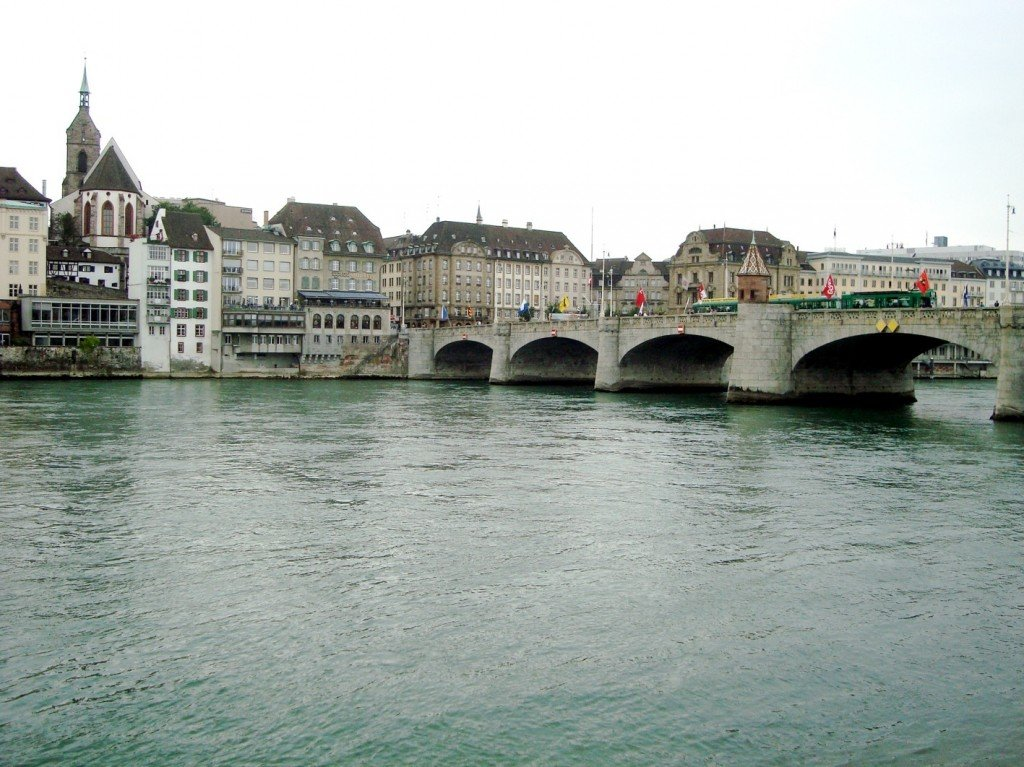 Mittlere Brücke, an old stone bridge in Basel