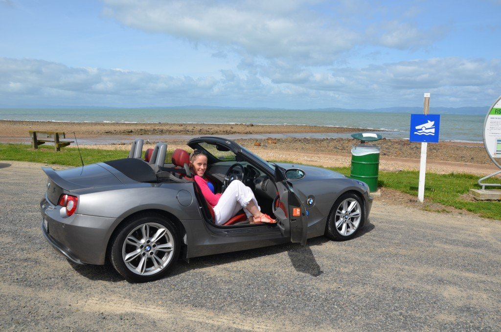 Anna in BMW Z4 on the Coromandel coast