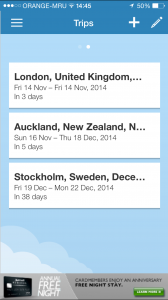 Screenshot of TripIt app