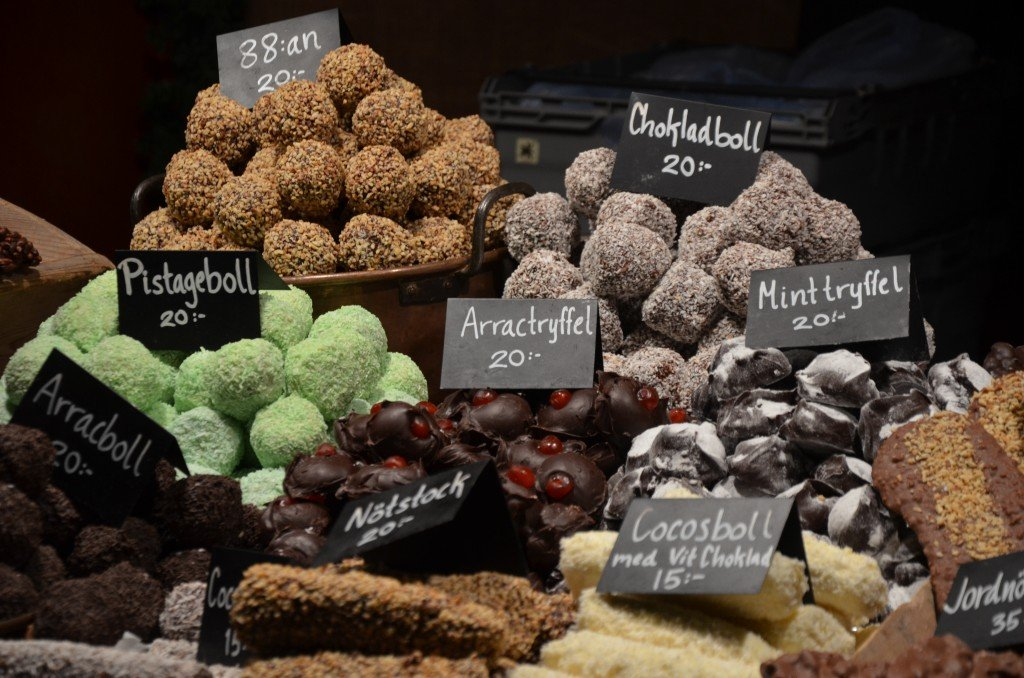 Chocolate balls at the Christmas market