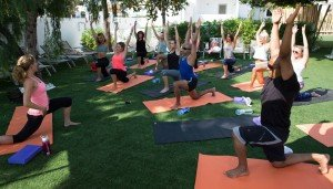 Lucy Lucas teaching yoga