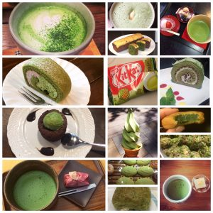 green tea collage