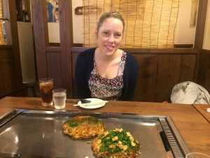 Eating okonomiyaki